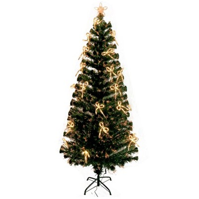 ALEKO CT6FT010 Artificial Indoor Christmas Holiday Optics Tree with White LED Bows - 6 Foot
