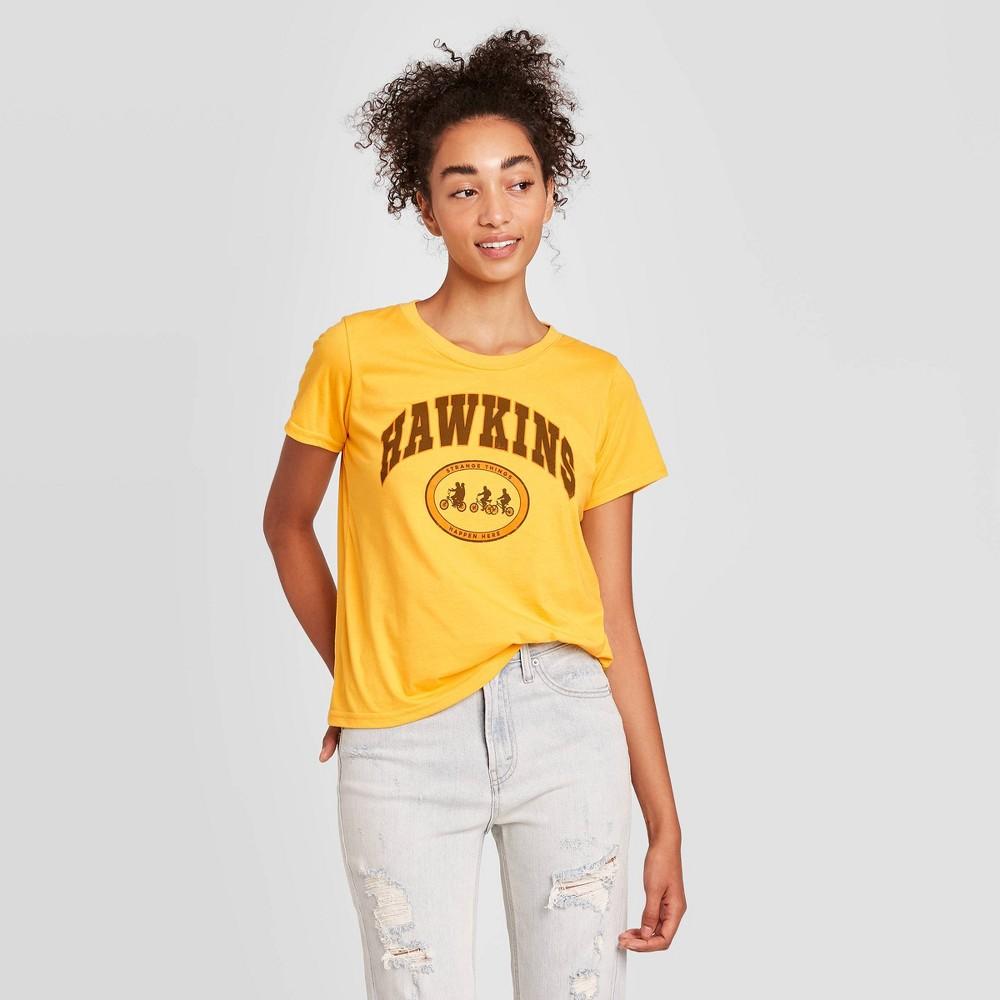 Women 39 S Stranger Things Hawkins Short Sleeve Graphic T Shirt Yellow Xl