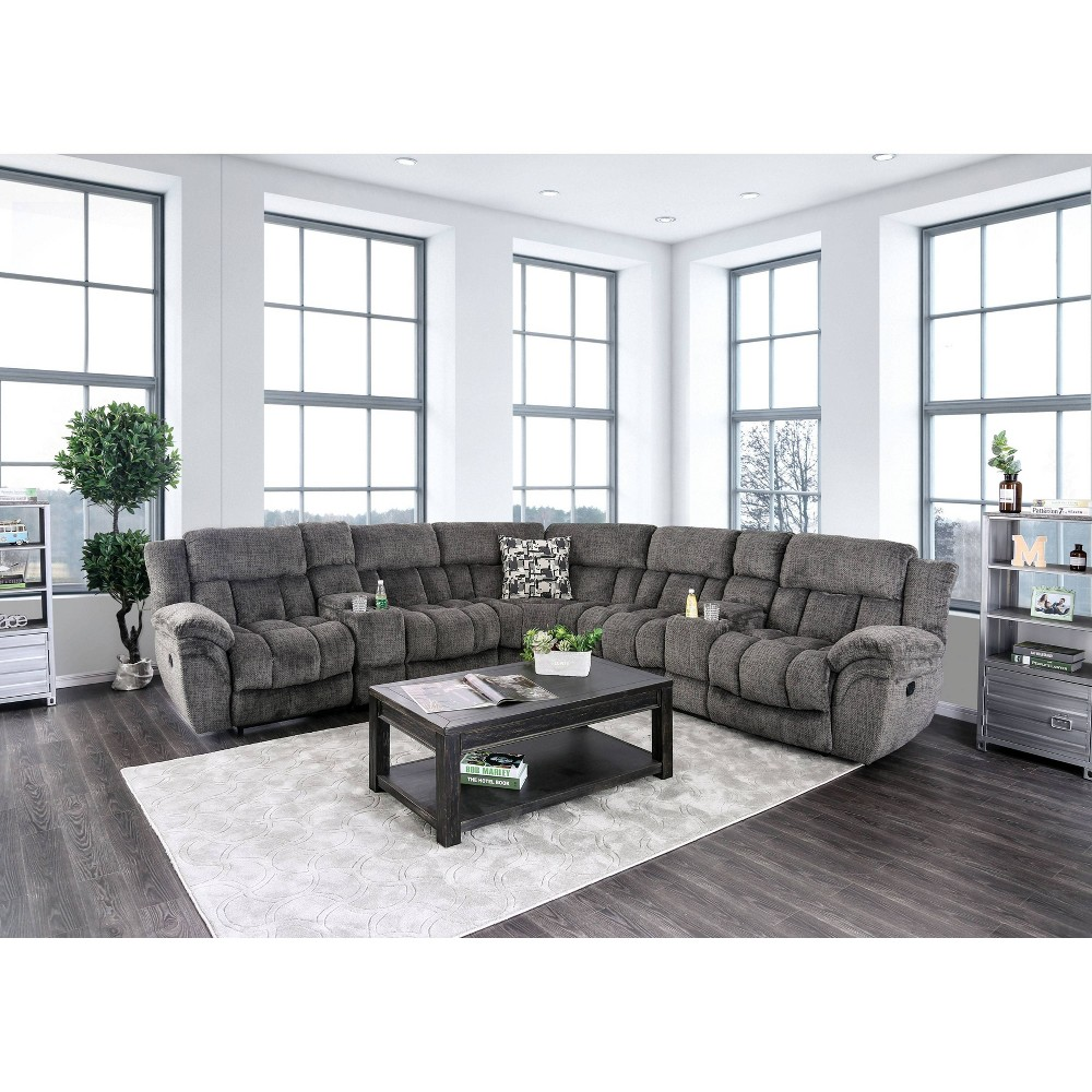 Image of Armand Upholstered Recliner Sectional Gray - HOMES: Inside + Out