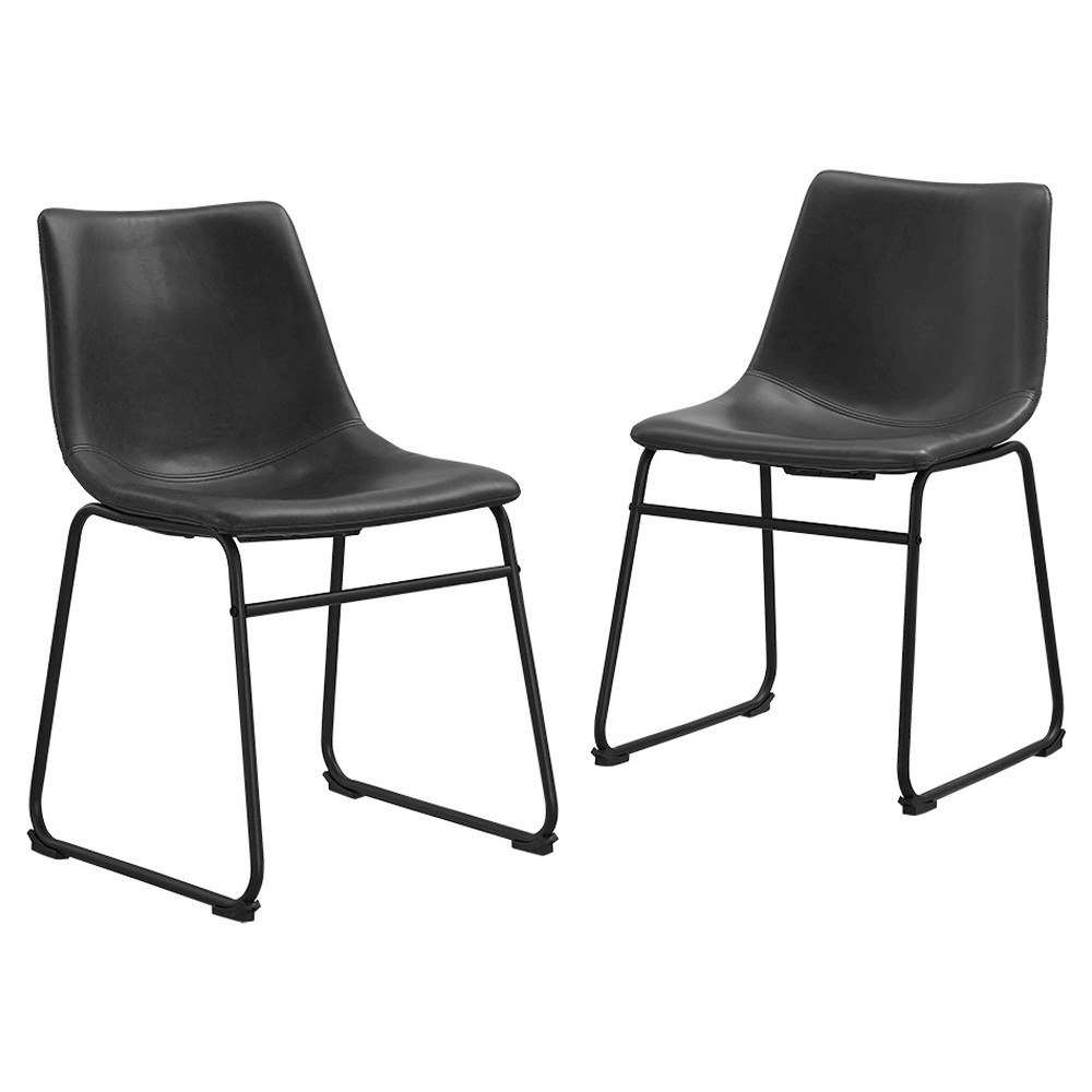 Faux Leather Dining Kitchen Chairs, Set of 2 - Black - Saracina Home