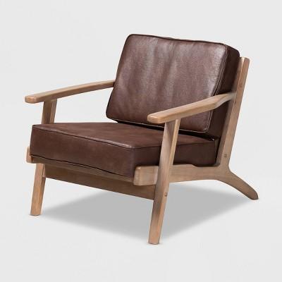 Sigrid Faux Leather Upholstered Wood Armchair Dark Brown/Antique Oak - Baxton Studio