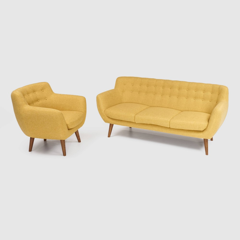 Image of 2Pc Rhodes Mid - Century Modern Living Set Yellow - RST Brands