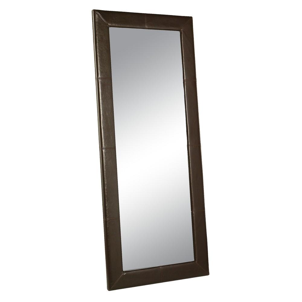 Desmond Rectangle Leather Floor Mirror Brown - Abbyson Living