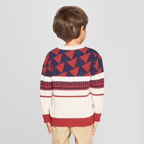 Toddler Boys Crew Neck Geometric Pullover Sweater Cat Jack