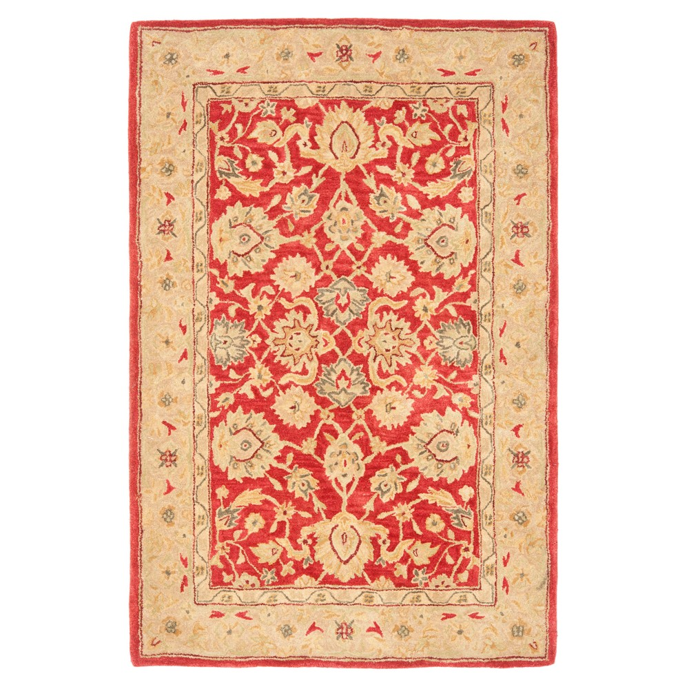 Red/Ivory Floral Tufted Area Rug 4'X6' - Safavieh