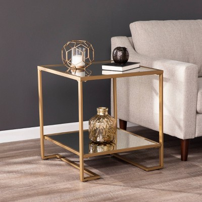 Horzen Square Glass Top End Table Gold - Aiden Lane