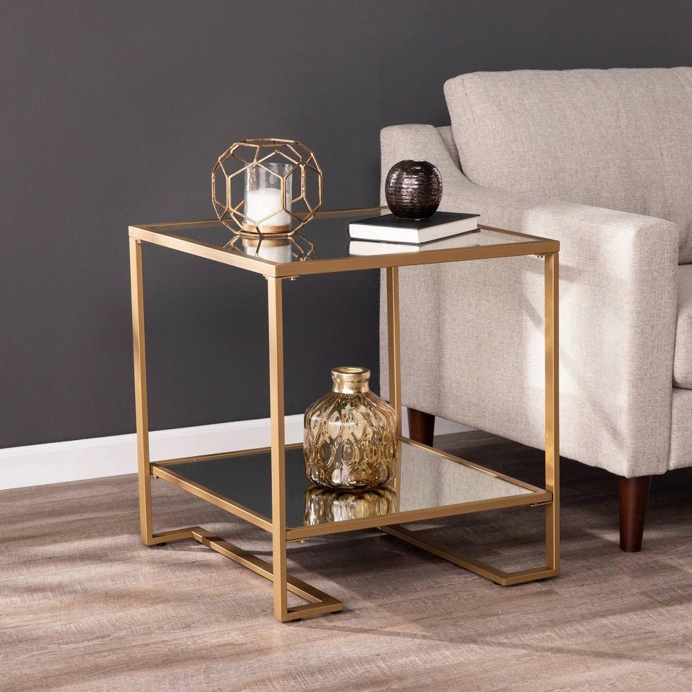 Horzen Square Glass Top End Table Gold Aiden Lane