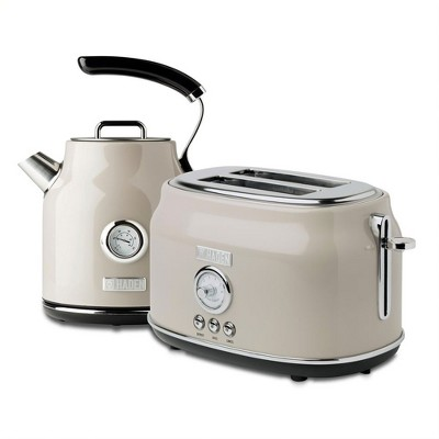 Haden Dorset Wide Slot Stainless Steel 2 Slice Retro Toaster & Dorset 1.7 Liter Stainless Steel Electric Water Kettle, Putty Beige