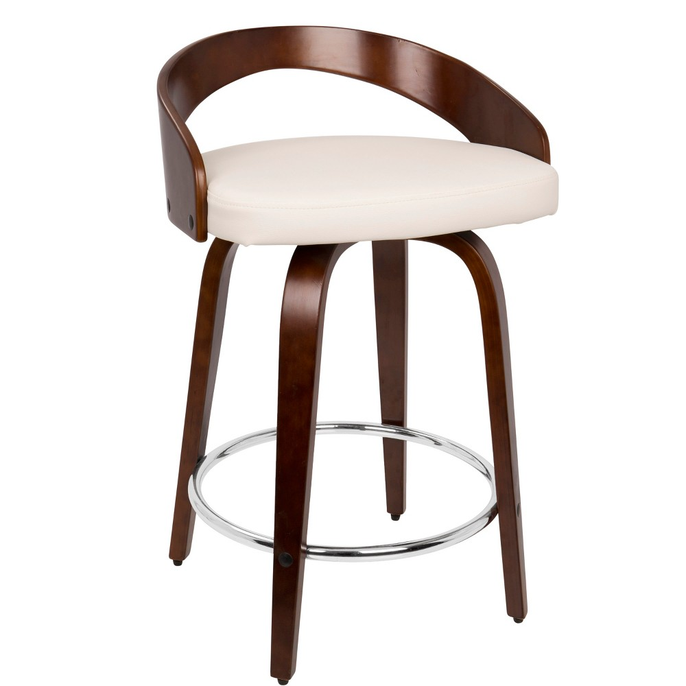 24 Grotto Mid-Century Modern Counter Stool Cherry/White (Red/White) - LumiSource