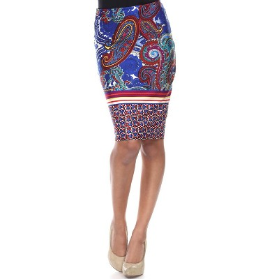Women's Pretty and Proper Printed Pencil Skirt - White Mark