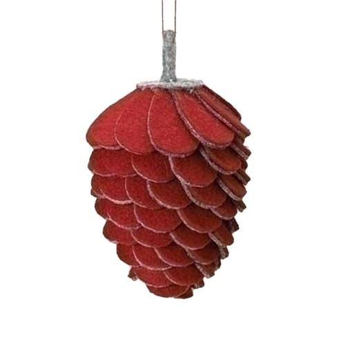 "Roman 4.75"" Winter Wonderland Felt Pine Cone Christmas Ornament - Red/Gray - image 1 of 1"
