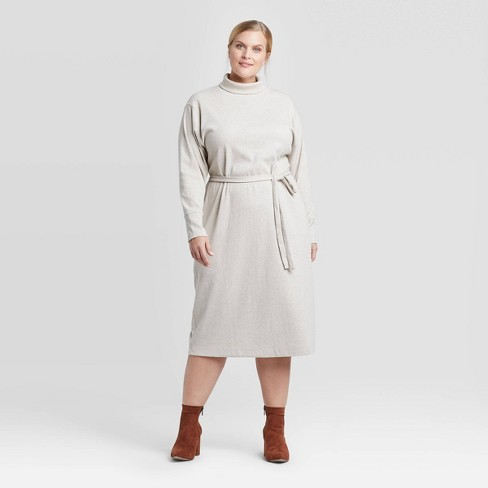 Women\'s Plus Size Long Sleeve Mock Turtleneck T-Shirt Midi Dress -  Prologue™ Cream 2X