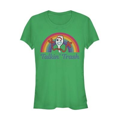 Junior's Toy Story Forky Talkin' Trash Rainbow T-Shirt