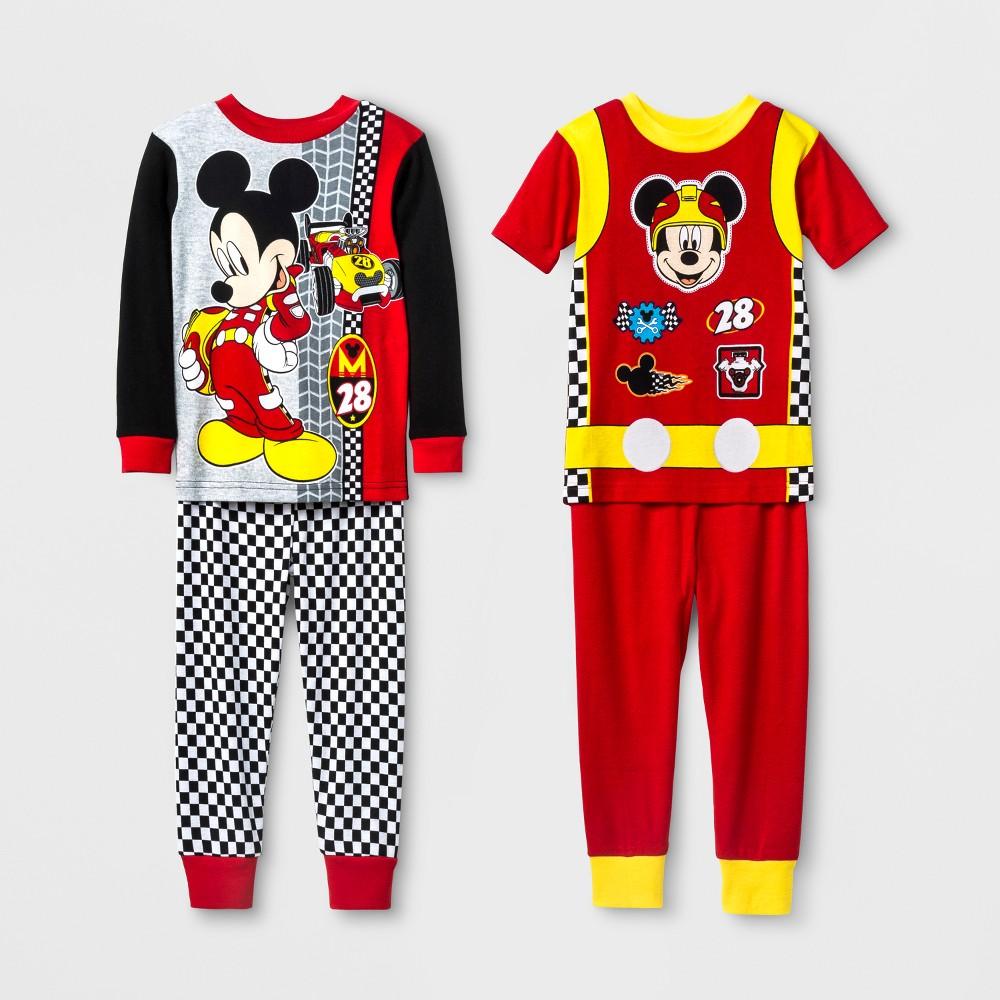 Toddler Boys' Disney Mickey Mouse 4pc Pajama Set - Red 5T