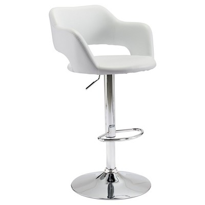 Modern Faux Leather Adjustable 25  Bar Chair - White - ZM Home