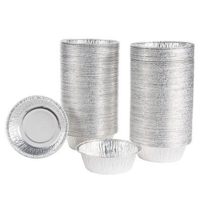 "Juvale 200-Pack 4.8"" Round Disposable Aluminum Foil Pans with Lids Pie Pans Tin Plates, 4.8 x 1.5 x 4.3 in"