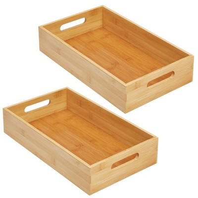 mDesign Bamboo Wood Compact Food Storage Bin with Handle - 2 Pack