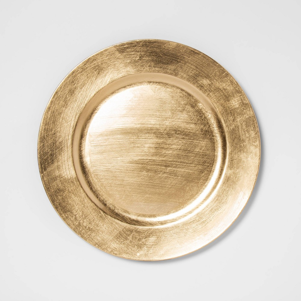 """Image of """"12.9"""""""" Plastic Round Decorative Charger Gold - Threshold"""""""