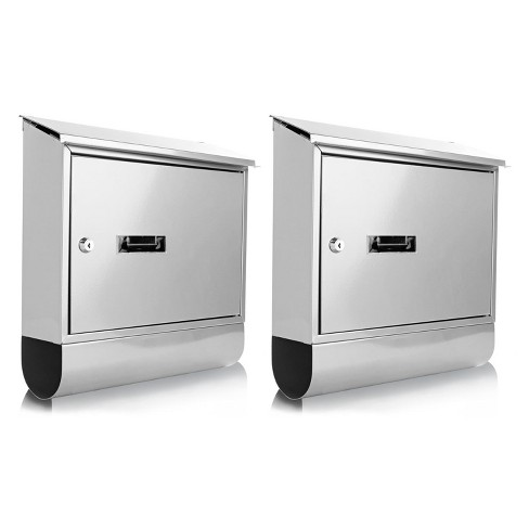 SereneLife SLMAB06 Home Indoor Outdoor Galvanized Steel Metal Wall Mount Secure Locking Mailbox Magazine Newspaper Holder with Keys, Silver (2 Pack) - image 1 of 4