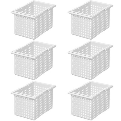 Like-It Versatile Stacking Plastic Home Bathroom Storage Solution Organizer Slotted Basket Tote, White (6 Pack)