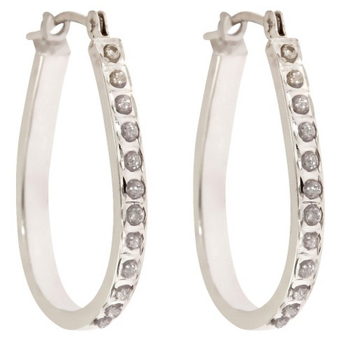 Pear Shaped Sterling Silver Earrings with Diamond Accents - White - image 1 of 1