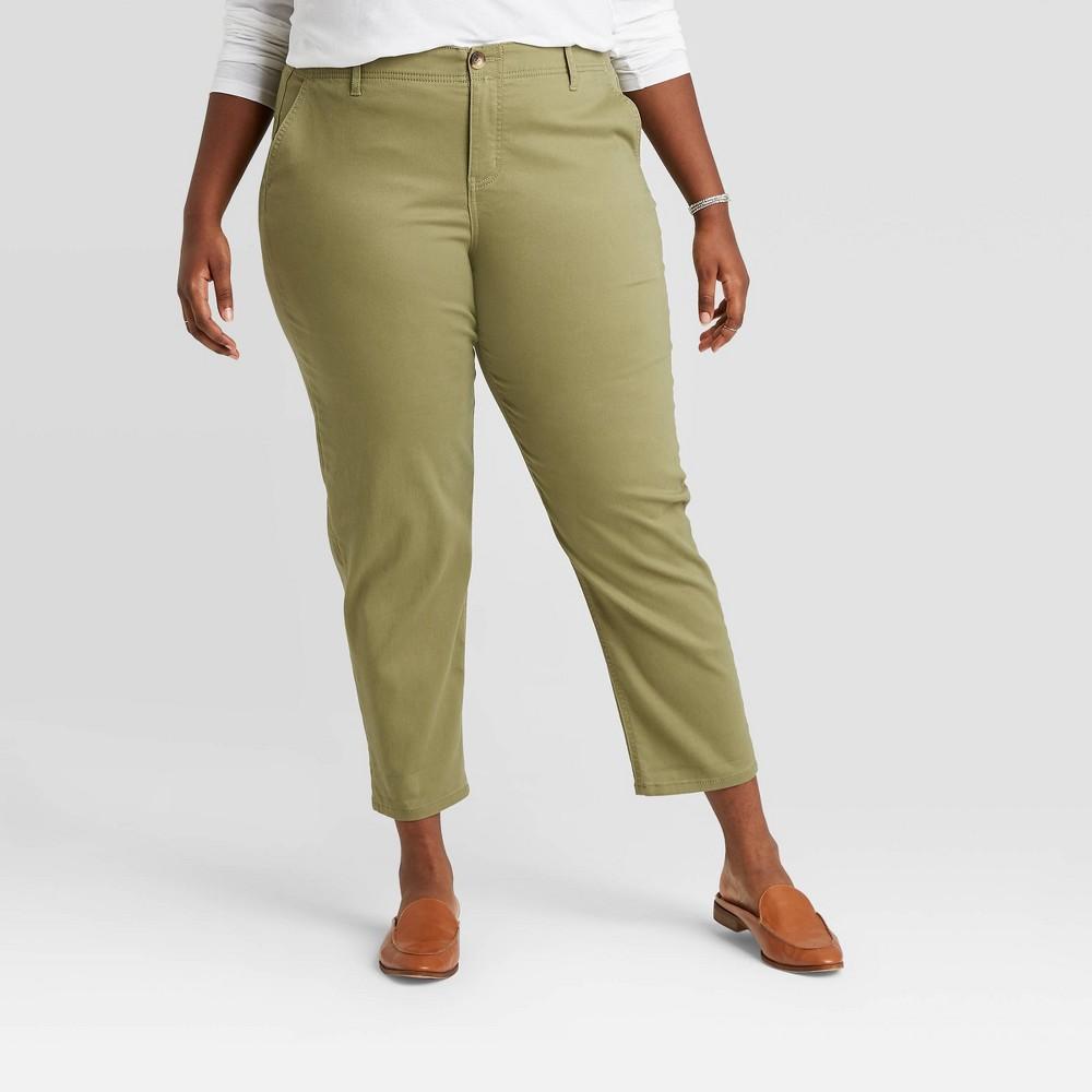 Women 39 S Plus Size Chino Straight Leg Pants Ava 38 Viv 8482 Green 30w