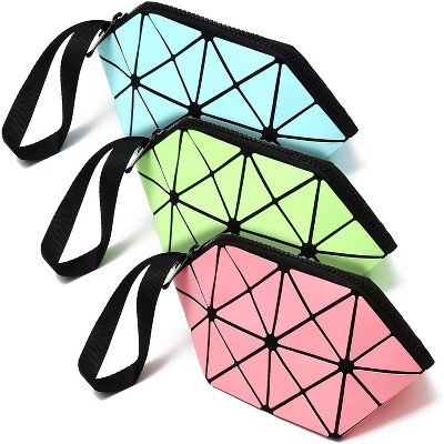 Juvale 3-Pack Travel Makeup Bags in Geometric Design, Toiletry Cosmetic Pouch, Pink, Green, Blue Glow in Dark