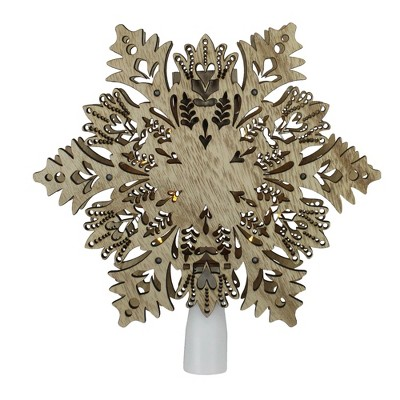 "Northlight 8.5"" Pre-Lit Brown Battery Operated Snowflake Christmas Tree Topper - Clear Lights"