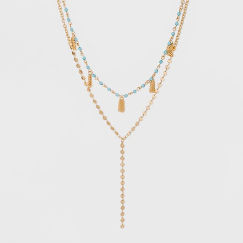 SUGARFIX by BaubleBar Mixed Media Layered Y-Chain Necklace - Turquoise - image 1 of 3