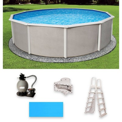 """Blue Wave Round 180""""x180""""x48"""" Belize Steel Wall Pool Package"""