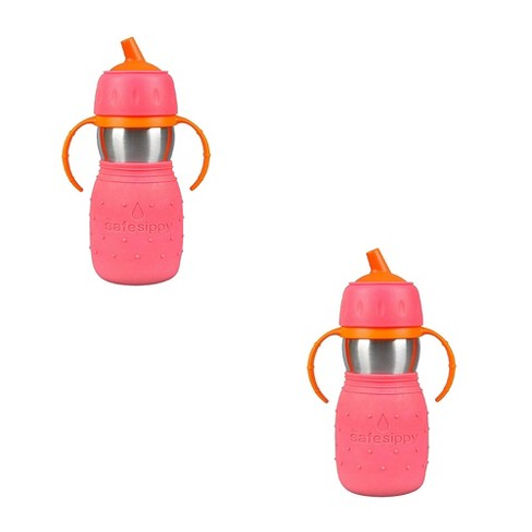 Kid Basix Stainless Steel Safe Sippy Cup 11 Ounce Bottle, Pink (2 Pack) - image 1 of 1