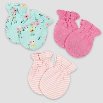 Gerber Baby Girls' 3pk Fox Mittens - Pink