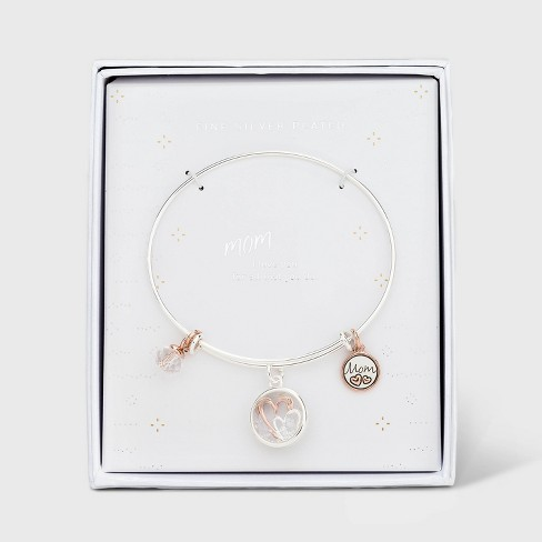 Silver Plated Rose Two-Tone Charms Adjustable Bangle - Silver Gray - image 1 of 2