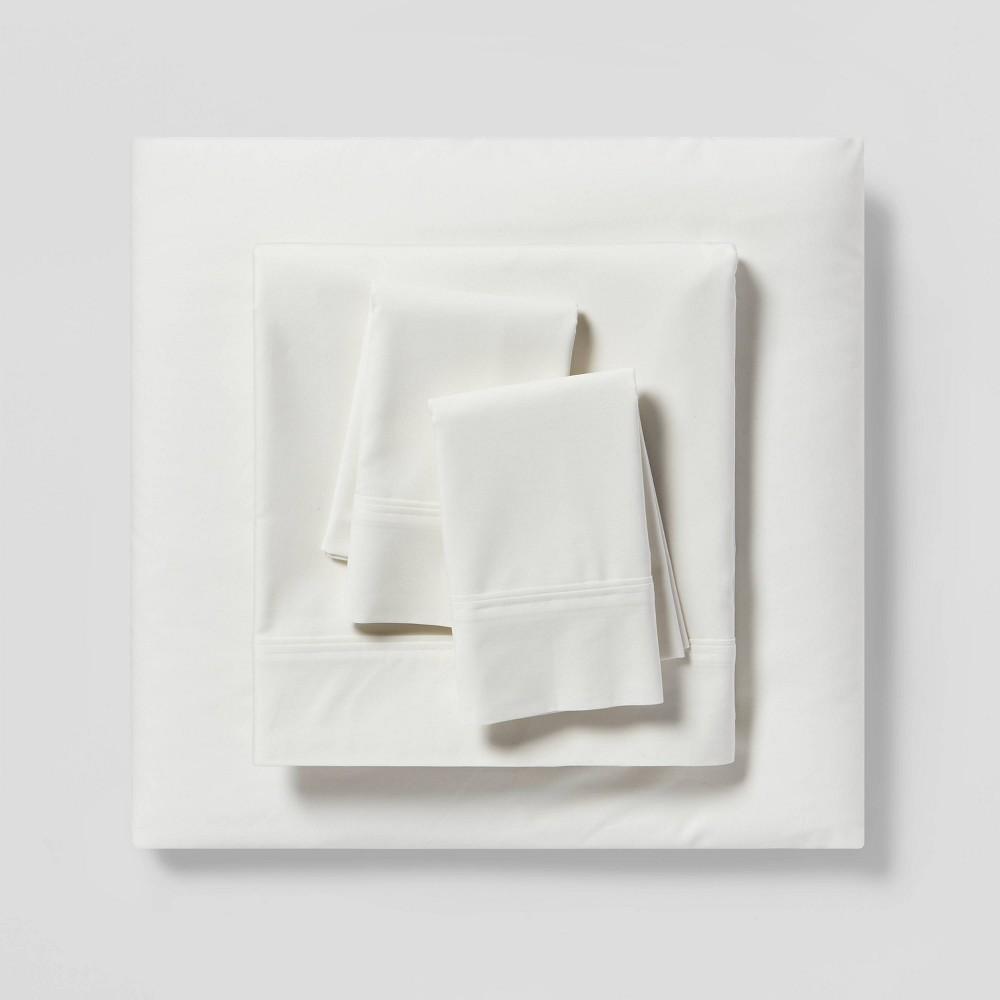 Full 300 Thread Count Solid Organic Sheet Set Cream Threshold 8482