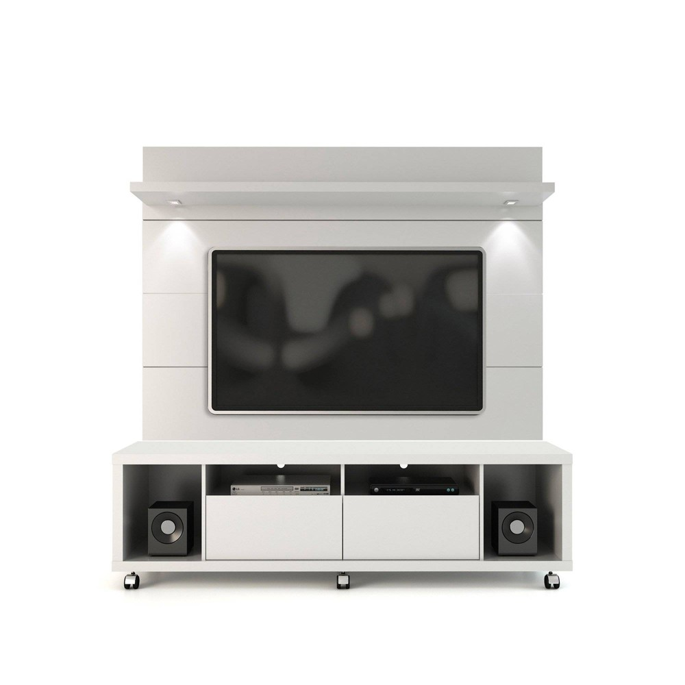 Cabrini TV Stand and Floating Wall TV Panel with Led Lights 1.8 Gloss White - Manhattan Comfort