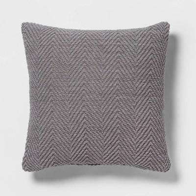 Euro Chenille Herringbone Holiday Decorative Throw Pillow Gray - Threshold™