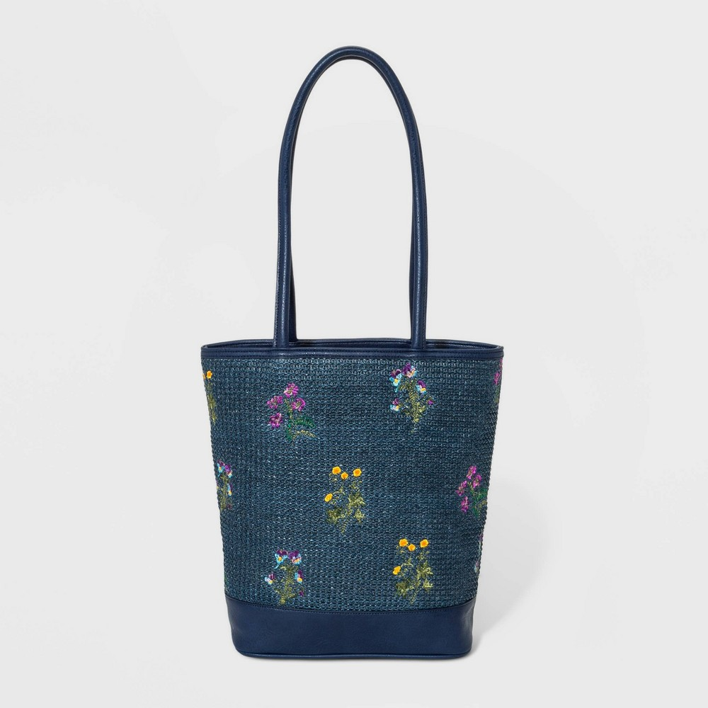 Image of Bueno Floral Print Straw Tote Handbag With Embroidery - Dark Chambray, Blue