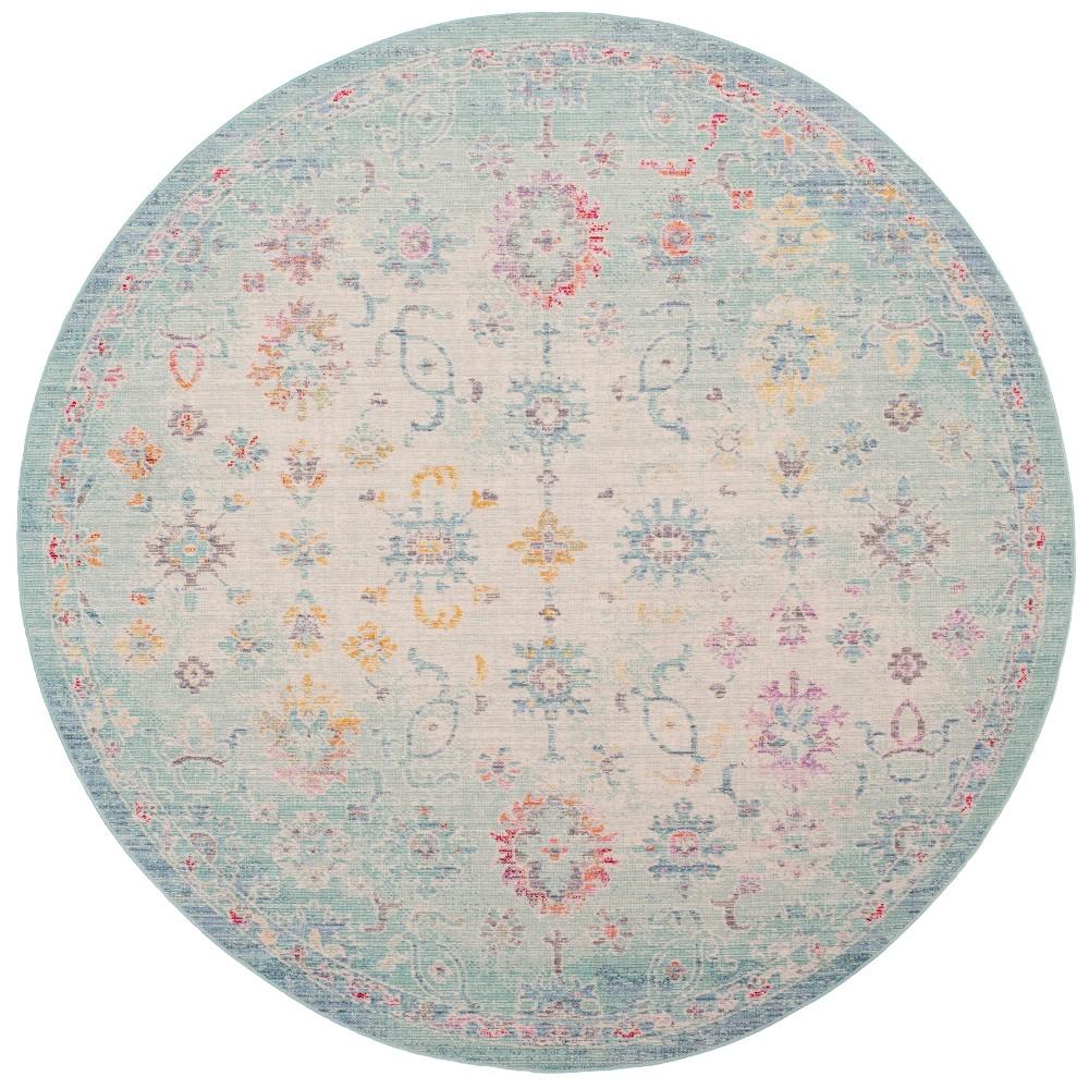 6' Medallion Loomed Round Area Rug Sea Foam Green/Blue - Safavieh
