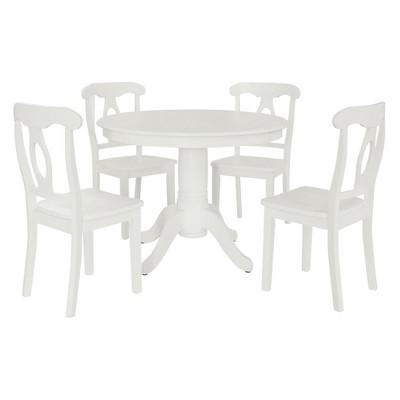 Stella 5 Piece Traditional Height Pedestal Dining Set White - Dorel Living