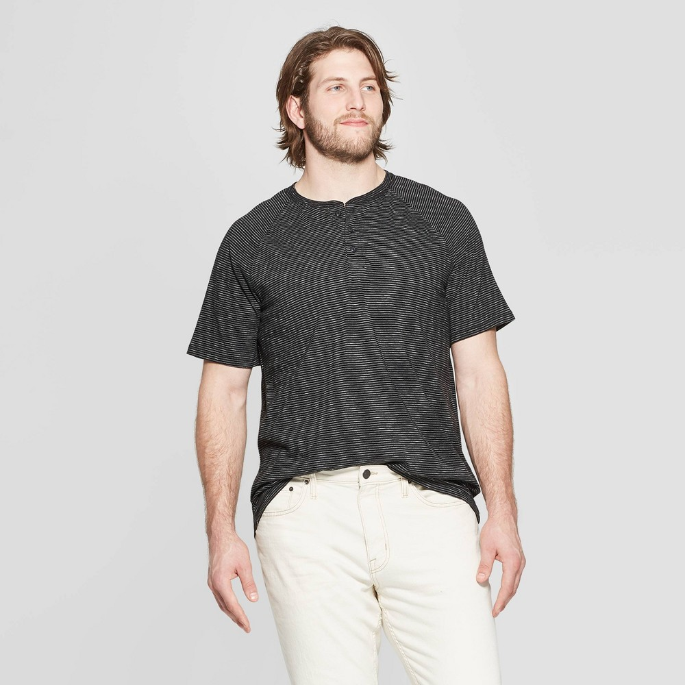 Men's Big & Tall Regular Fit Short Sleeve Henley Shirt - Goodfellow & Co Deep Charcoal 4XBT, Black