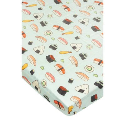 Loulou Lollipop Muslin Fitted Crib Sheet - Sushi
