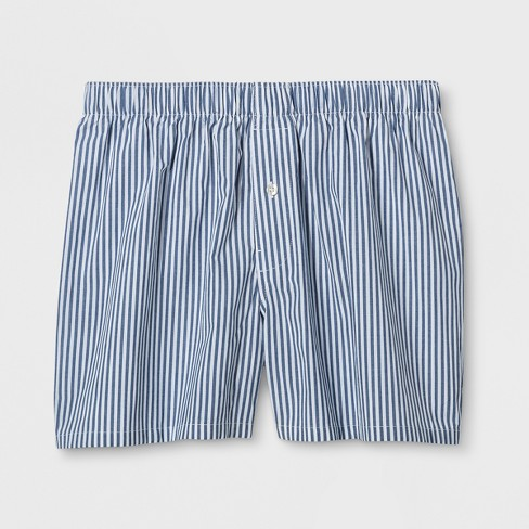 Men's Striped Woven Boxer Shorts - Goodfellow & Co™ Blue - image 1 of 1