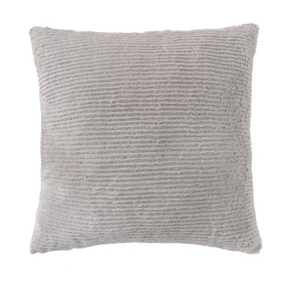 "22""x22"" Oversize Square Ribbed Plush Throw Pillow Gray - Room Essentials™"