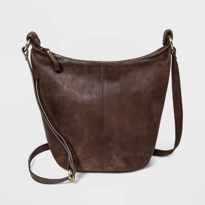 Bolo Zip Closure Leather Shoulder Bag - Brown
