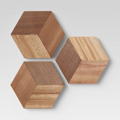 Set of 3 Wood Tile Brown - Project 62™