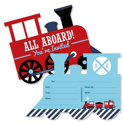 Big Dot of Happiness Railroad Party Crossing - Shaped Fill-in Invitations - Train Birthday or Baby Shower Invitation Cards with Envelopes - Set of 12