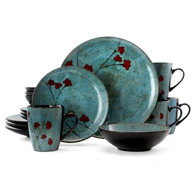 16pc Stoneware Sky Bloom Dinnerware Set Red/Blue - Elama