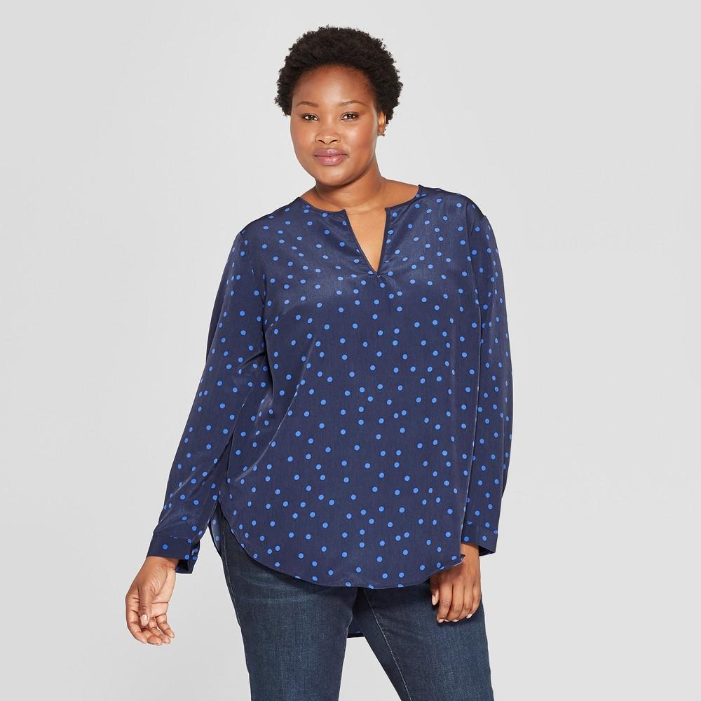 Women's Plus Size Polka Dot Long Sleeve Woven Popover - Ava & Viv Navy 2X, Blue