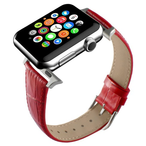 f0f323ceba Apple Watch Replacement Leather Band 38mm with Steel Adapter - Red