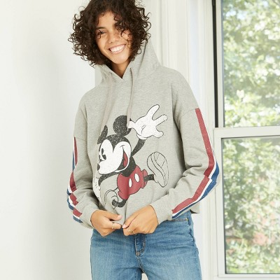 Women's Disney Jumping Mickey Hooded Graphic Sweatshirt - Heather Gray